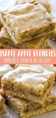 These chewy Maple Glazed Apple Blondies taste like sweet apple pie with a warm maple icing! This homemade apple blondie recipe is the perfect fall dessert! Its easy, super flavorful, and always a crowd pleaser! Maple Apple Blondies are one of the easiest Desserts For A Crowd, Just Desserts, White Desserts, Health Desserts, Desserts With Apples, Apple Blondies Recipe, Maple Apple Cake Recipe, Apple Brownies, Apple Pie Recipe Easy