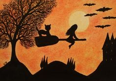 Halloween Card: Witch and Cat, Halloween Art Card, Cat Witch Silhouette Card Art £2.20