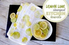 Lemon Lime Stamped Kitchen Towels - CreativeMeInspiredYou.com home, home decor, fruit, fruit stamping, cheap crafts, crafting, diy, craft, kids crafts, tween crafts, teen crafts, diy, decor, kitchen decor, citrus, decor, lemon, lime, towels, hand towels, decor towels, fabric stamping, stamping with food