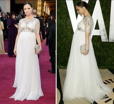 Oscars - Co-founder of Marchesa, Georgina Chapman in her own design, pregnant with then husband, movie mogul & now disgraced movie producer, Harvey Weinstein. Maternity Evening Gowns, Maternity Wear, Maternity Fashion, Maternity Dresses, Bridal Dresses, Evening Dresses, Maternity Wedding, Pregnancy Looks, Pregnancy Outfits