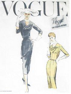 1956 Vintage VOGUE Sewing Pattern B40 DRESS (1117)
