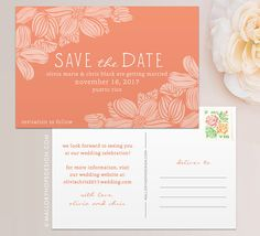 Tropical Flowers Destination Wedding Save the Date by ©MalloryHopeDesign malloryhopedesign.etsy.com