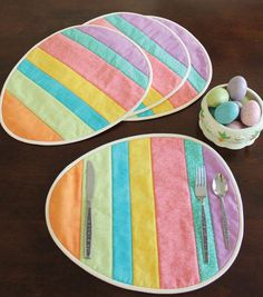 Easter Egg Placemats - fun project to use some scraps!