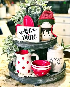 """""""Be Mine"""" tiered tray sign. This adorable farmhouse inspired sign measures approximately It is custom hand painted and sealed. It is the perfect size to sit on your decorative tiered trays and a wonderful companion to all your Valentine's decor. Valentines Day Decorations, Valentine Day Crafts, Valentine Ideas, Office Decorations, Valentine Party, Valentine Wreath, House Decorations, Funny Valentine, Seasonal Decor"""