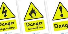 Mechanics/Garage Role Play Warning Signs - Mechanics/Garage Role Play Pack, garage,  sign, warning, mechanic, car, MOT, car parts, hydraulic lift, petrol, oil, role play, display, poster