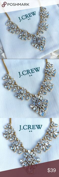 "NWT J Crew Crystal Rhinestone Statement Necklace NWT - J Crew Crystal Necklace - Zinc casting, glass and epoxy stones,cubic zirconia, steel chain - Light gold ox plating- 17"" long with a 3"" adjustable extender chain - white J Crew monogrammed drawstring jewelry bag and custom jewelry gift box included with necklace purchase - reasonable offers welcomed - bundle discounts available J. Crew Jewelry Necklaces"