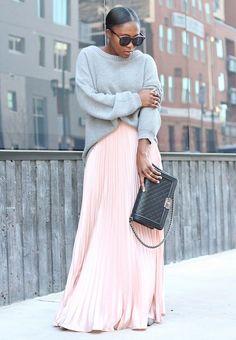 Уличный стиль: Летняя длинная юбка | MsKnitwear.com
