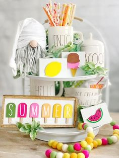 Summer signs / signs / watermelon signs / lemon signs / ice cream signs / popsicle signs / tiered tray decor/ rae Dunn decor / summer These cute summer signs are a perfect addition to your farmhouse and Rae Dunn summer/spring and everyday decor. Ice Cream Sign, Summer Signs, Tray Styling, Spring Home Decor, Summer House Decor, Summer Mantle Decor, Summer Table Decorations, Spring Kitchen Decor, Country Farmhouse Decor