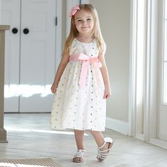 9ccd3a7c7c1 Girls White Multi Dot Ava Sash Dress – Lolly Wolly Doodle Dress Sash