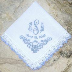 Something Blue Handkerchief Wedding Bride & by FlipFlopsforAllShop