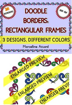 24 DOODLE BORDERS - RECTANGULAR FRAMES - OK FOR COMMERCIAL USE  3 DESIGNS, DIFFERENT COLORS!