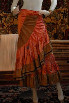 flamenco skirt vintage silk sari wrap maxi - orange gold