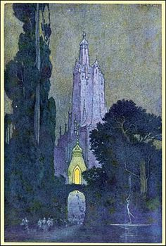 Illustration by Franklin Booth, for The Flying Islands of the Night by James Whitcomb Riley, 1913 (via Golden Age Comic Book Stories) Art And Illustration, Landscape Illustration, Illustrations Posters, Fantasy Kunst, Fantasy Art, Fantasy Castle, Art Inspo, Franklin Booth, Edmund Dulac