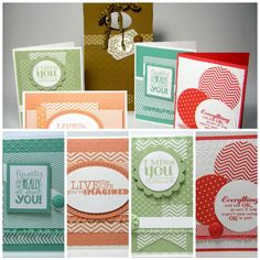 handmade notecard set ...  Stampin' Up! new In Colors ... match up patterned paper, ink and card stock ... monochromatic look ...