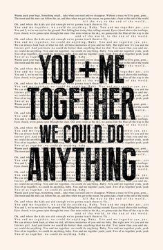 You and Me - Book Page -- Dave Matthews Band Lyrics Poster print, studio wall art, distressed typography print