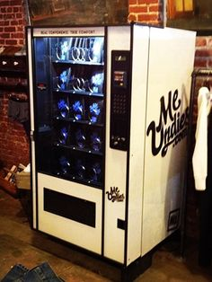 """""""Looks like snickers aren't the only things popping out of vending machines these days.""""  Meet the underwear vending machine for that special hoe out there."""