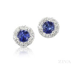 Sapphire Earrings with Halo
