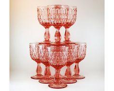 Vintage Pink Glass Water Goblets Wine Glasses by TheBasementVault