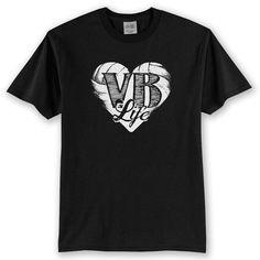 VB vida corazón amor voleibol t-shirt camisa de voleibol