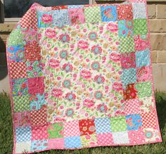 Cute and easy baby quilt idea