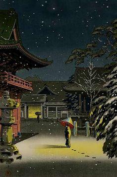 Snow-at-Nezu-shrine by Koitsu, 1934