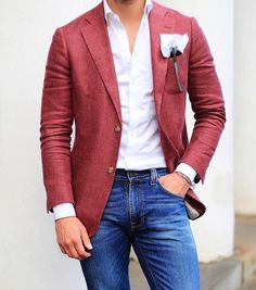 latest trends : mens fashion ideas мода, мужской стиль, с Blazer Outfits Men, Mens Fashion Blazer, Stylish Mens Outfits, Suit Fashion, Casual Outfits, Red Blazer, Men's Outfits, Womens Fashion, Terno Casual