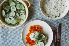 R52 Sweet potato fritters with cucumber salad and vegan curd with herbs