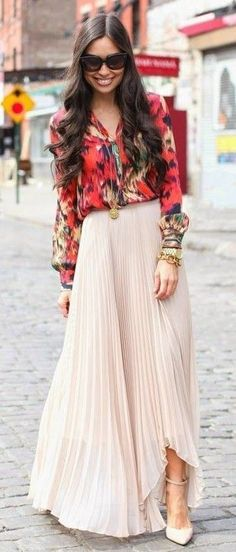 #spring #outfitideas | Printed long sleeve blouse  + nude pleated maxi skirt | With Love From Kat