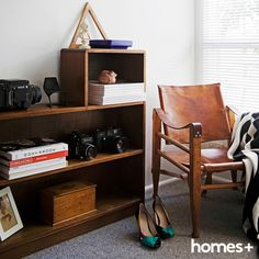 A can be found in Carmen and Jeremy's home. As featured in the June 2015 issue of home+. Contemporary Style Homes, House And Home Magazine, Interior Inspiration, Bungalow, June, Shoes Heels, House Design, Shelves, Chair