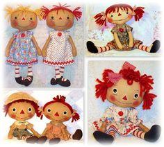 Primitive Doll Patterns for Raggedy Ann Annie Dolls handmade rag dolls, cloth dolls, stuffed animals and soft toys.