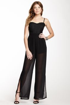 Wow Couture Lace Pleated Jumpsuit | Nordstrom Rack