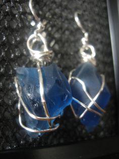 Silver Wrapped Dark Blue Sea Glass Earrings