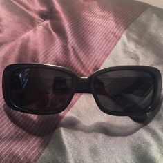 Marc Jacobs Sunglasses Black sunglasses. One of the lenses is scratched as shown. Marc Jacobs is written all over the arms (made this way). Question....just ask! No trades!  Marc by Marc Jacobs Accessories Glasses