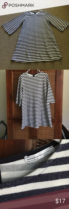 navy white stripe nautical swing dress Zara Super cute dress in navy and white. Exaggerated sleeve which is on trend now. A-line cut. Sz L by Zara. No flaws and smoke free home. Zara Dresses