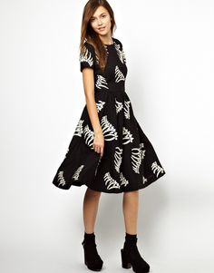 YMC | YMC Bones Dress in Embroidered Wool at ASOS. Ugh if only.