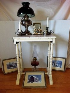 White Painted Table, Lamps And Décor. White Occasional Table Had Crackled  Paint Fish And