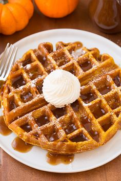 Pumpkin Waffles with Apple Cider Syrup - this is seriously like the ULTIMATE fall breakfast! It's incredibly delicious!