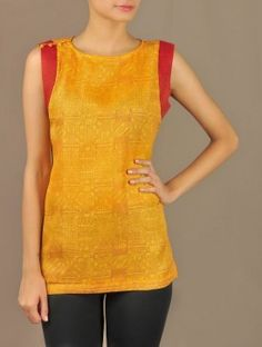 Yellow Kota Silk Top with Brocade