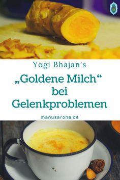 """Yogi Bhajans """"Goldene Milch"""" bei Gelenkproblemen auch bekannt als Turmerik Latte, Kurkuma Tee, Kurkuma Milch (Haldi) *-*-*-*- Hin und wieder klagen die Teilnehmer in Meditations- oder  Yogakursen über Gelenkschmerzen, zum Beispiel beim längeren Sitzen im Schneidersitz. Dagegen hilft das Trinken von täglich einer Tasse """"Golden Milk"""" vor dem Zubettgehen. Wer die goldene Milch öfter mag: dreimal täglich eine Tasse. Yogi Bhajan empfiehlt diese Rezeptur besonders für Frauen. Auf dem Kundalini…"""