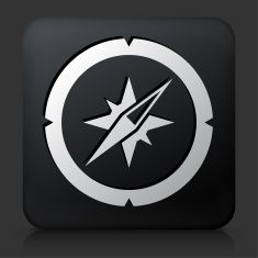 Black Square Button with Compass Icon vector art illustration