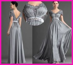 Plus Size Mother Of The Bride 2014 Sexy Silver Grey Sheath Chiffon Mother Of The Bride Dresses Scoop Neckline Short Sleeves Long Crystals Beaded Lace Appliques Party Gown Wedding Outfits For Mothers From Promfantasy, $116.1| Dhgate.Com