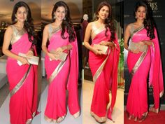 Bollywood and South Indian actress Shraddha Das in beautiful pink designer plain georgette saree with gold plain border. Paired with designer sleeveless saree blouse. MADE BY ORDER ONLY.... CALL/WHATSAPP : 09425052960