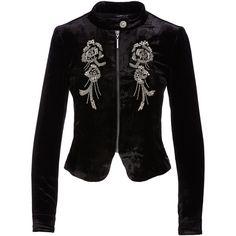 Nanette Lepore Embellished Structured Velvet Jacket (2.080 BRL) ❤ liked on Polyvore featuring outerwear, jackets, flower print jacket, cropped jacket, floral print jacket, structured jacket and zip front jacket