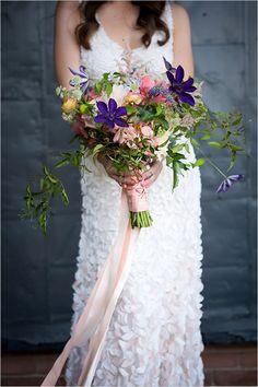pink and purple bridal bouquet @weddingchicks