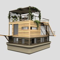 This is a house boat but I love the decking Bungalow, Casas Containers, Water House, Floating House, Miniature Houses, Little Houses, Exterior Design, Tiny House, Boat House