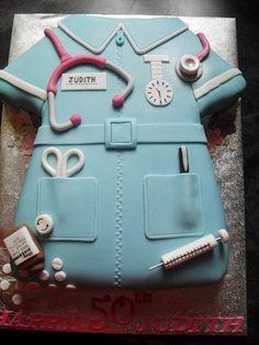 Nurse cake for nurse's day! Fancy Cakes, Cute Cakes, Beautiful Cakes, Amazing Cakes, Medical Cake, Doctor Cake, Retirement Cakes, Dress Cake, Novelty Cakes