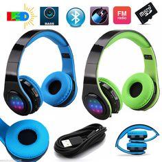 Universal Sport Bluetooth Wireless Stereo LED Headset Earphone Headphone FM/AUX