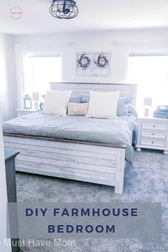Modern farmhouse bedroom makeover with farmhouse style bedroom decor ideas Farmhouse Style Bedrooms, Farmhouse Bedroom Decor, Farmhouse Style Decorating, Master Bedroom Makeover, Modern Master Bedroom, White Pillows, Bed Furniture, Red Accents, Decor Crafts