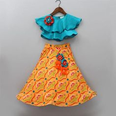 Pre Order: Blue Choli With Printed Lehenga Baby Girl Party Dresses, Dresses Kids Girl, Kids Outfits, Birthday Dresses, Kids Dress Wear, Kids Gown, Ethnic Wear For Boys, Kids Blouse Designs, Kids Frocks Design