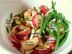 Roasted Potatoes with Smoked Sausage & Green Beans (sub EVOO for dressing, add beans in the last 30 minutes)
